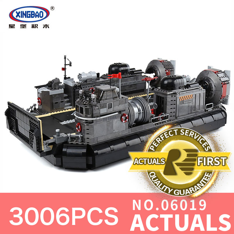 XingBao 06019 Genuine Military Series 3006Pcs The Amphibious Transport Ship Set Building Bricks Kits DIY Educational Toys Gifts broadcloth xxxl 3006