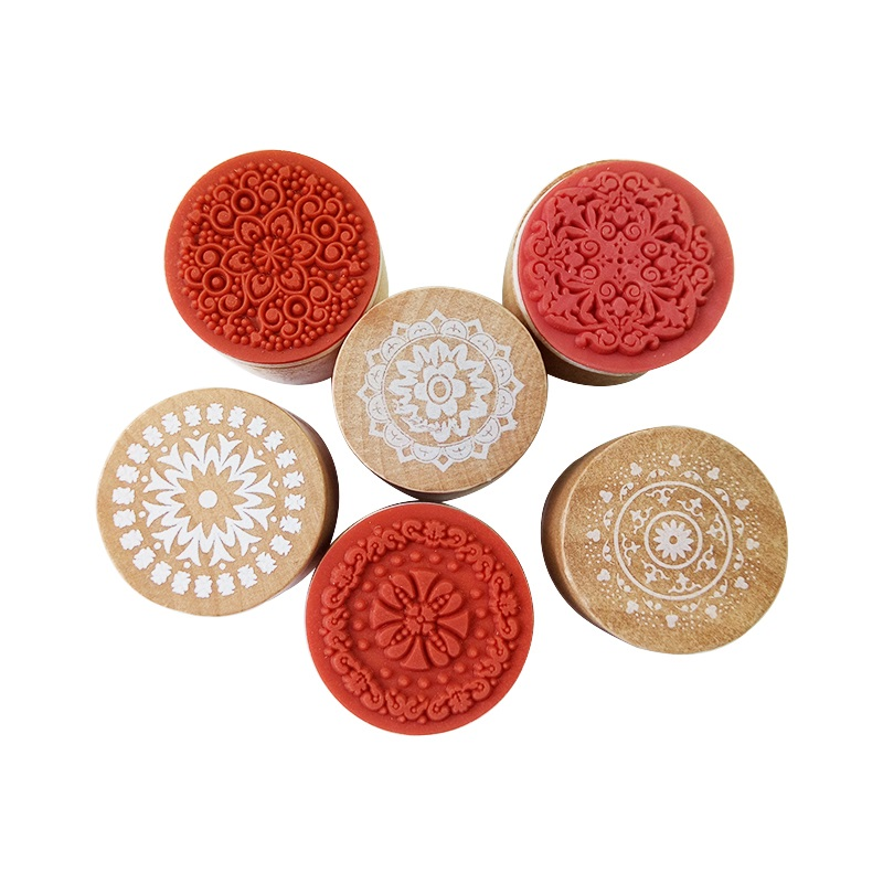1pcs/lot Vintage Floral Flower Pattern Round Wooden Rubber Stamps DIY Gifts For Handmade Retail