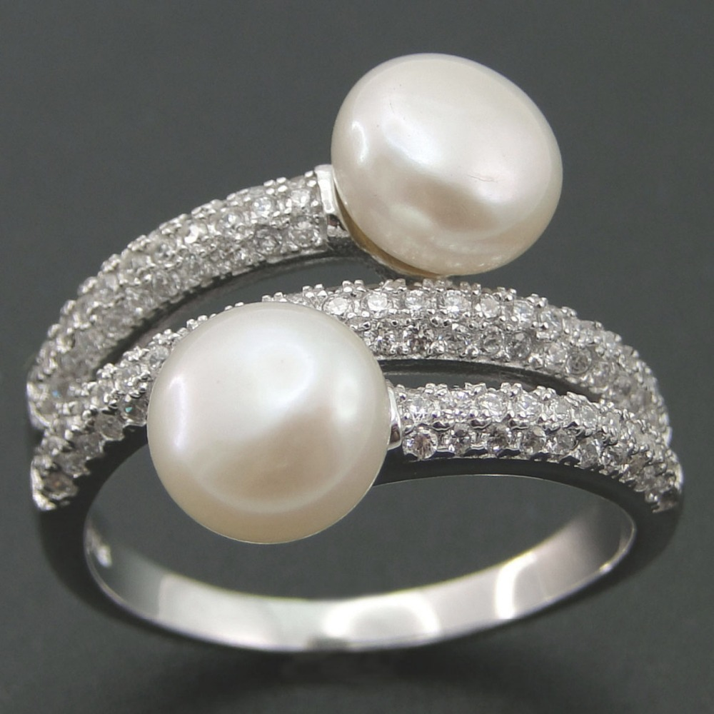 Pearl Wedding Rings: Natural Freshwater Pearl Ring 925 Sterling Silver Ring