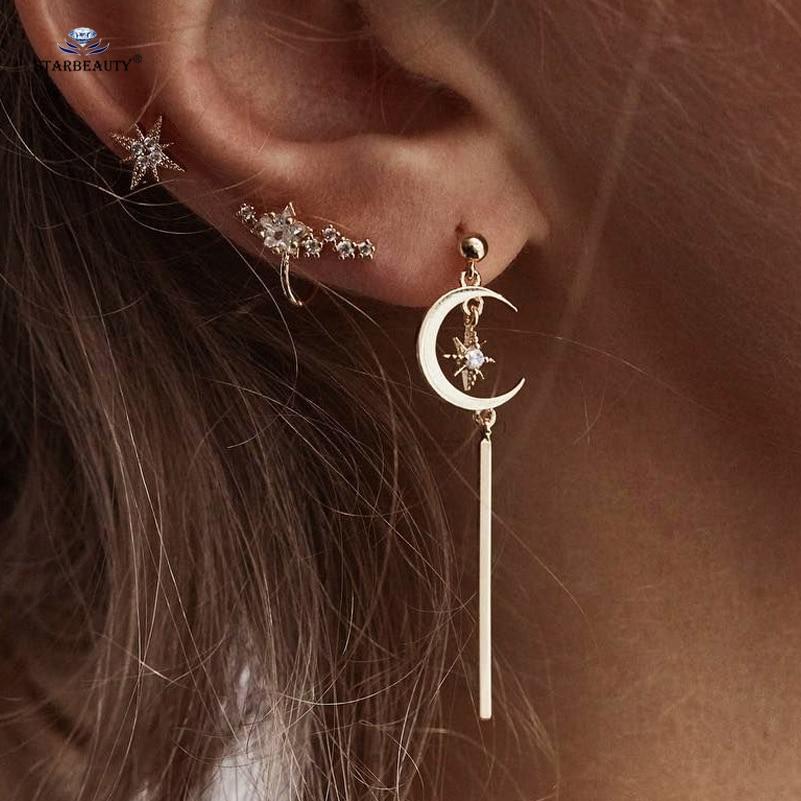 Starbeauty 3 pcs/lot Trendy Golden Moon Bijoux Tragus Piercing Helix Piercing Ear Shinning Star Fake Piercing Earrings Pircing Пирсинг ушей
