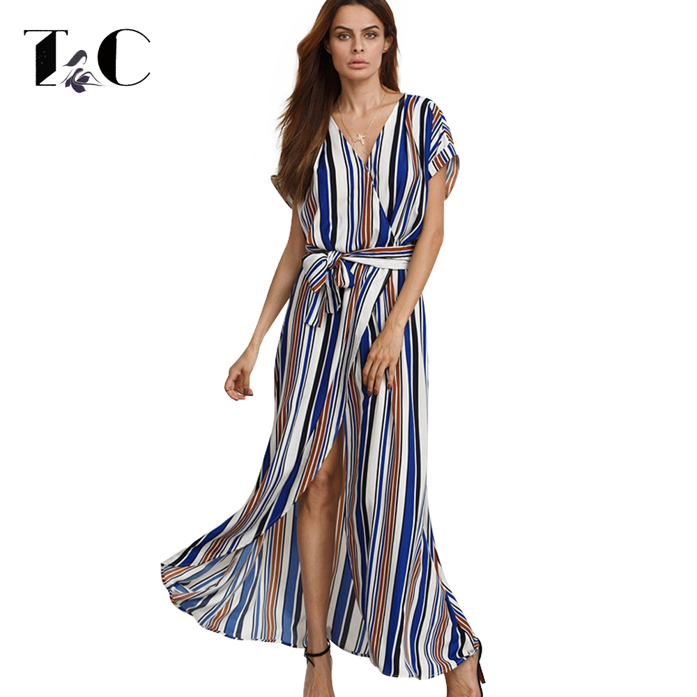 TC 2017 New Arrival Ladies Sexy New Style Stripe Printed Sashes Deep V Neck Short Sleeve