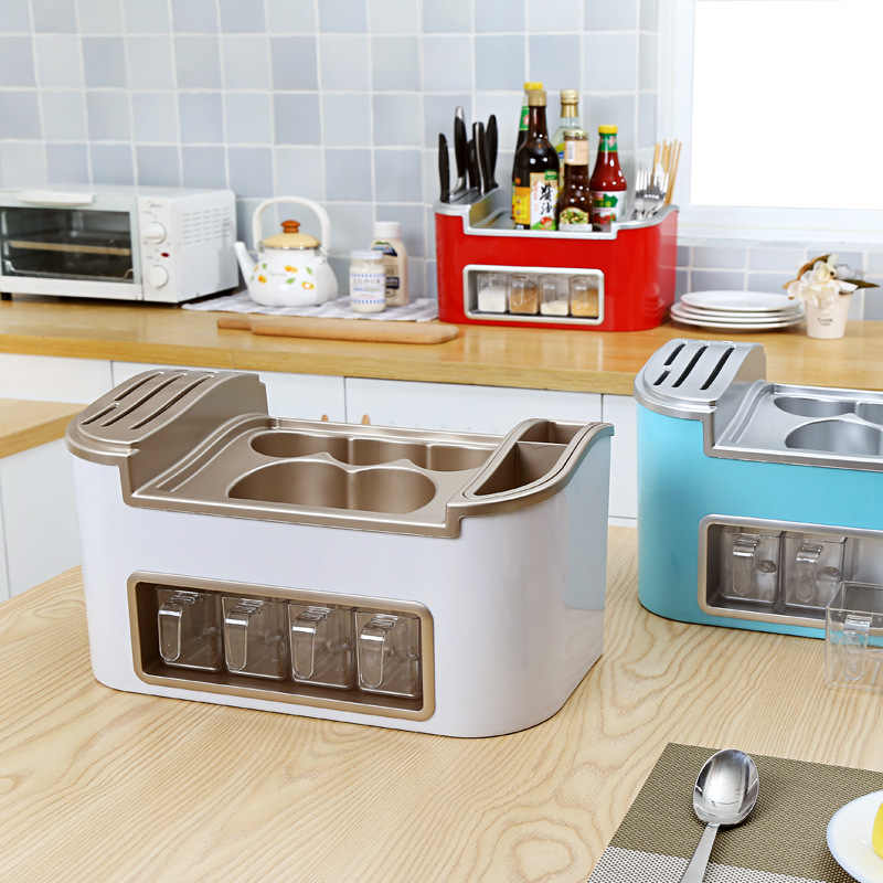 Multifunctional Double Row PP Kitchen Organizer Storage Box Caster Spice Knife Holder Tool Cutlery Rack Home Kitchen Supplies