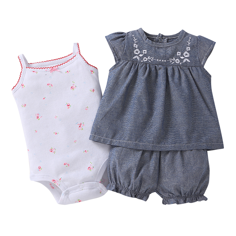 3 piece Baby Girls Clothes Sets Sweet Infant Clothing Set Short Sleeve Pants Summer Girl Floral Costumes Suit 2018 Bebes Outfits summer baby girl clothes newborn 3 piece clothing sets kids infant outfits suit girls bodysuit romper skirt headband