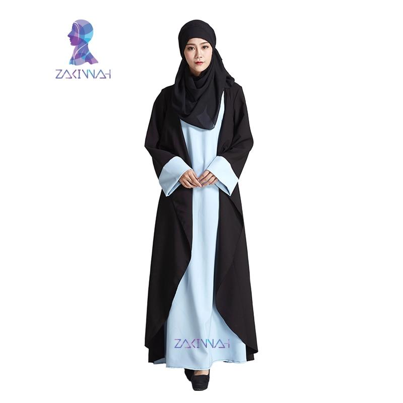 Új modell divat Fekete hamis két darab Dubai Abaya Iszlám ruházat - Nemzeti ruhák