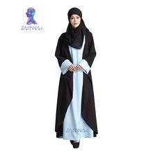 Novo Modelo de Moda Preto Falso Duas Peças Dubai Abaya Vestuário Islâmico Para As Mulheres Se Vestem Jilbab Turco Muçulmano Robe Musulmane