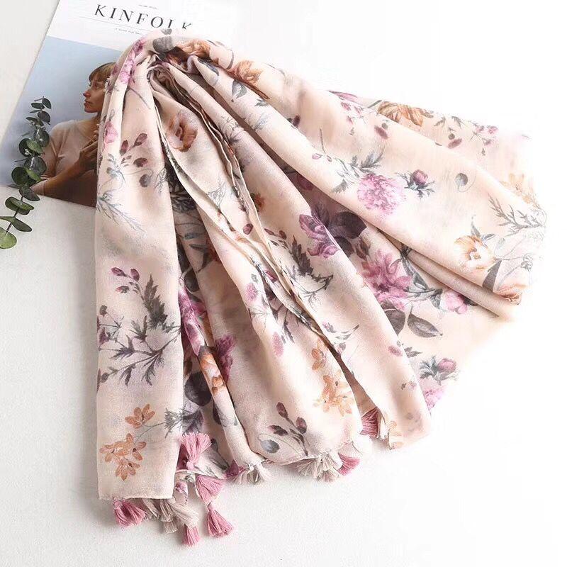 Head printed scarf wrap summer beach shawl Muslim hijab flower scarf shawls and scarves floral hijab