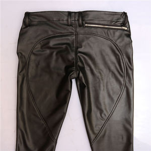 Image 5 - PU Faux Leather Punk Pants Elastic Tight Trousers Erotic Lingerie Fad Open Crotch Leggings Men Plus Size Look Slim Pencil Pants