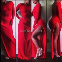 2019 Fast Shipping Elegant Mermaid Red Gown Party Dresses Sexy Backless Stain Evening Dress Custom made