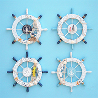 Mediterranean Style Beach Wood Decor Nautical Steering Wheel Fishing Net Home Wall Decoration Boat Ship Rudder Craft 28cm
