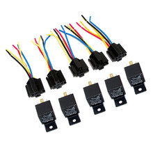 Brand New Lot5 New 12 Volt 30/40 Amp SPDT Automotive Relay with Wires & Harness Socket(China)