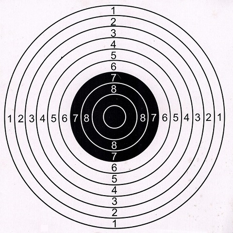Bullseye Paper Target 14x14cm or 17x17cm, 20pcs per pack