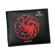 20e4cde822edb Gra o tron portfel skórzany Billetera Targaryen krew i ogień smok portfele  dla chłopców dziewczyny pieniądze
