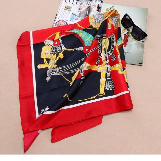 """موضة يطبع 100% وشاح حريري الحجاب Foulard كبير مربع الحرير حك وشاح شال 35 """"X 35"""""""