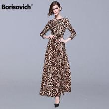 c8e956d75a Borisovich Estampa de leopardo Fêmea Do Vintage Vestido Longo Nova Marca  2019 Spring Fashion Big Balanço Linha Mulheres Maxi Ves.