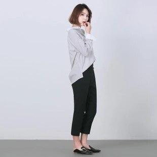 Kerrilado Новая мода весна женские большие размеры с отложным воротником серый белый в полоску рубашка. Чистый Хлопковая одежда с вышивкой укра...