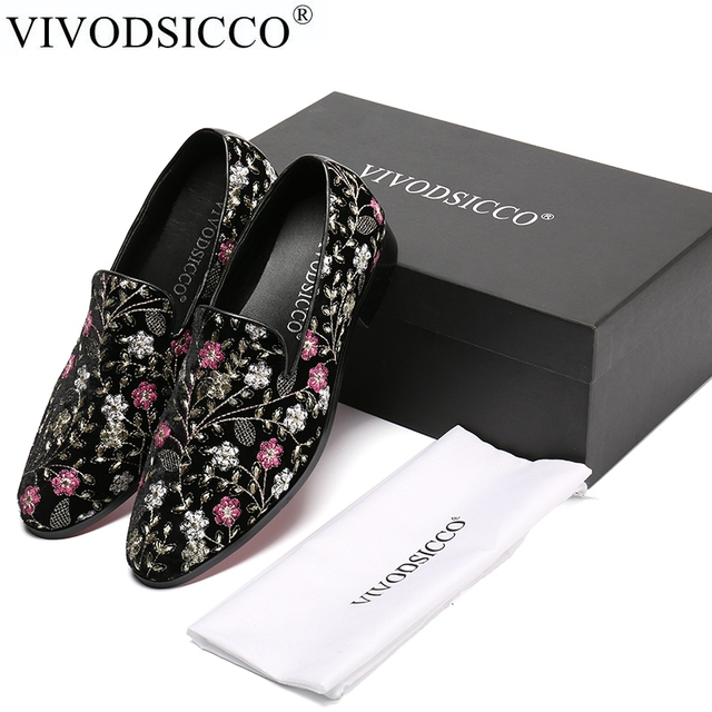 2936f3f1354f1 US $74.25 40% OFF|VIVODSICCO Men Velvet Loafers Party wedding Shoes Europe  Style Print Embroidered Velvet Slippers Driving Moccasins Flat Shoes-in ...