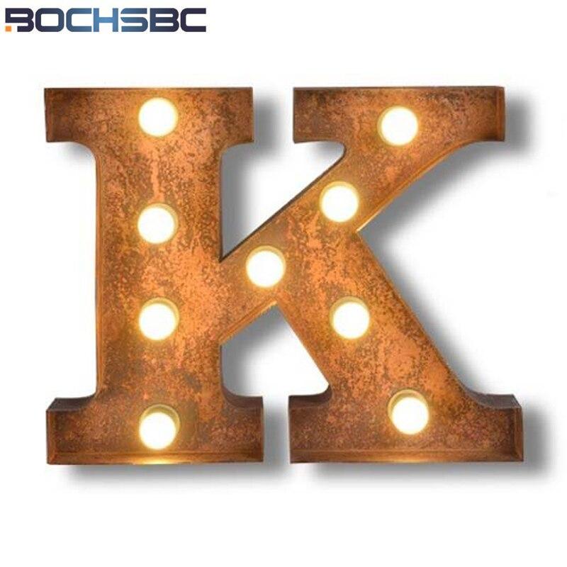 BOCHSBC Logo K Wall Lights Metal K Letter Lamp Vintage Art Deco Led Lamp Bar Cafe Wall Lampara for Hotel Restaurant Living Room
