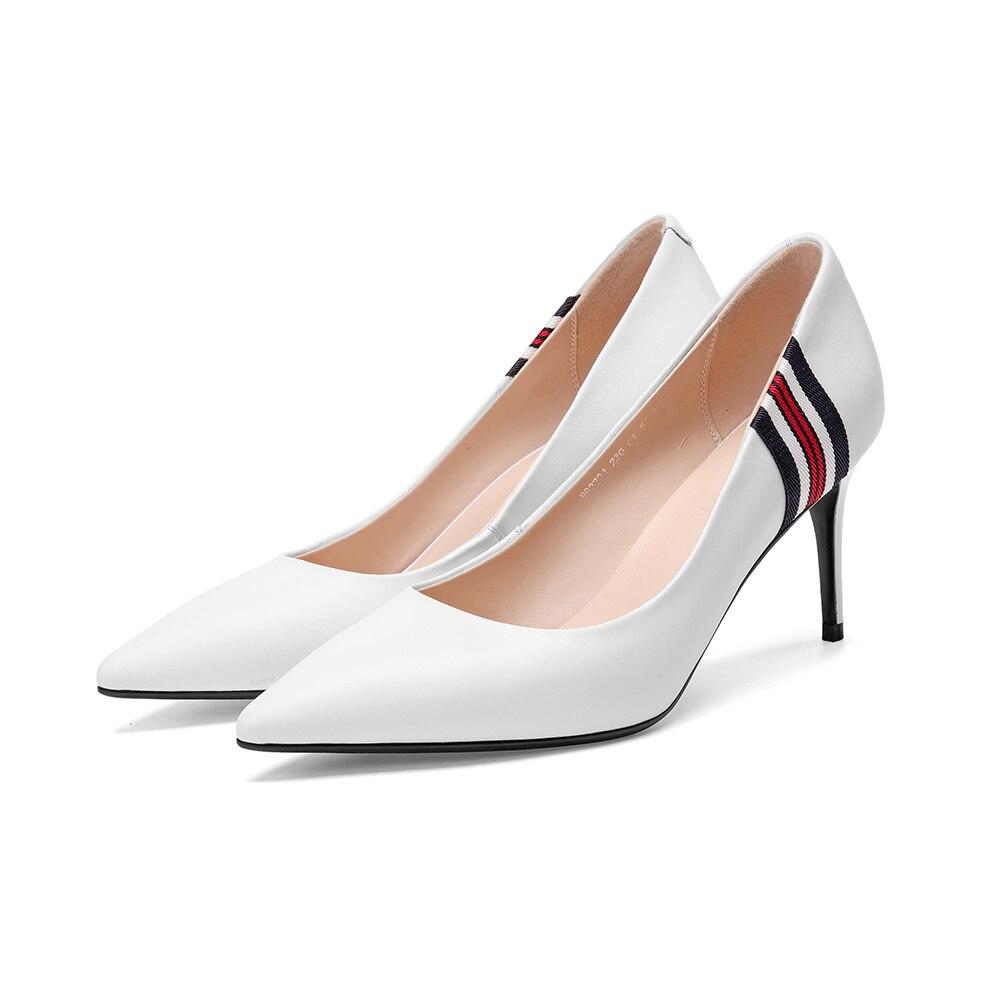 white Mujer Zapatos Para Belleza Blanco Fenty Elegante Bombas Mujeres Cuero Fiesta De Black Alto Genuino Tacón Leepo qBa4x