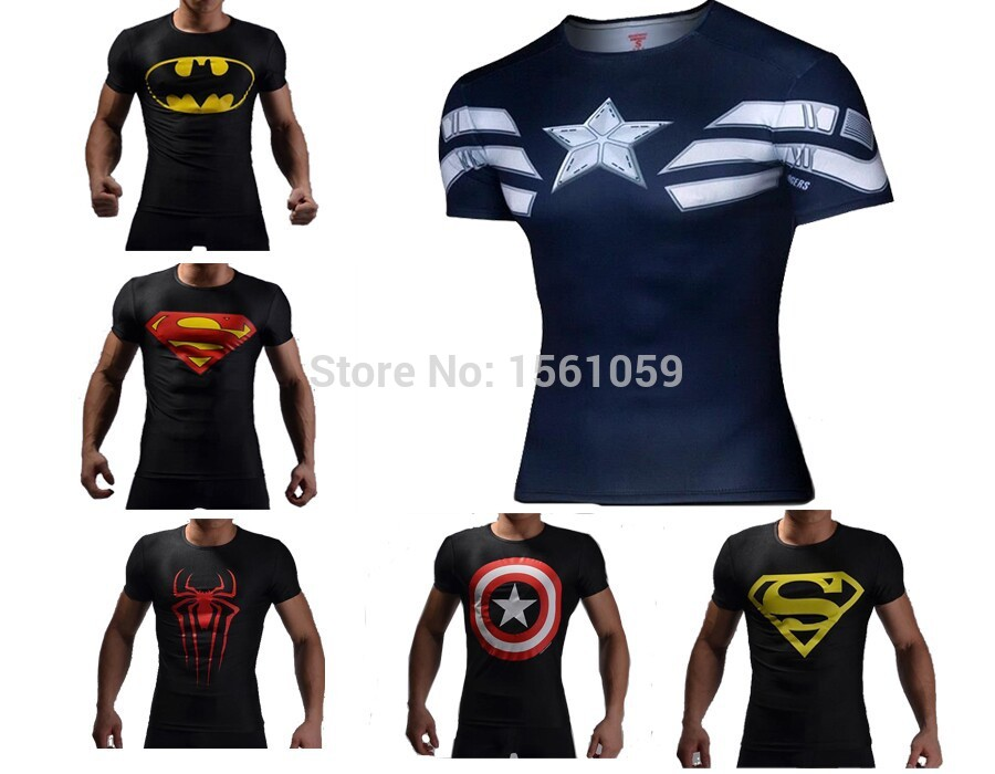 man superman t shirt slim fit cycling bodybuilding tee in t shirts. Black Bedroom Furniture Sets. Home Design Ideas