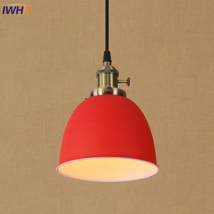 IWHD Colorful RH Loft Vintage Industrial LED Pendant Lights Retro Wooden Iron Pendant Lamp Fixtures For Home Lighting Bar Cafe new loft vintage iron pendant light industrial lighting glass guard design bar cafe restaurant cage pendant lamp hanging lights