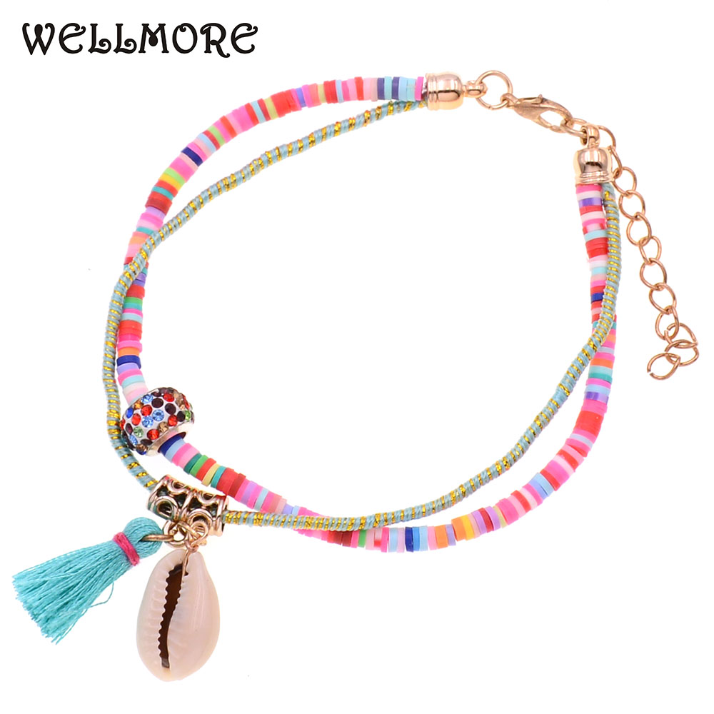 WELLMORE handmade shell Anklet bracelets bohemia Anklets for women Holiday beach Anklet Foot Jewelry wholesale dropshipping