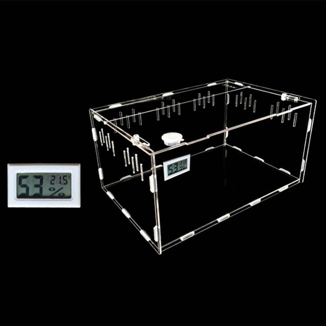 Acrylic Reptil Makan Kotak Crawler Hewan Peliharaan Makan Wadah dengan Suhu Hygrometer