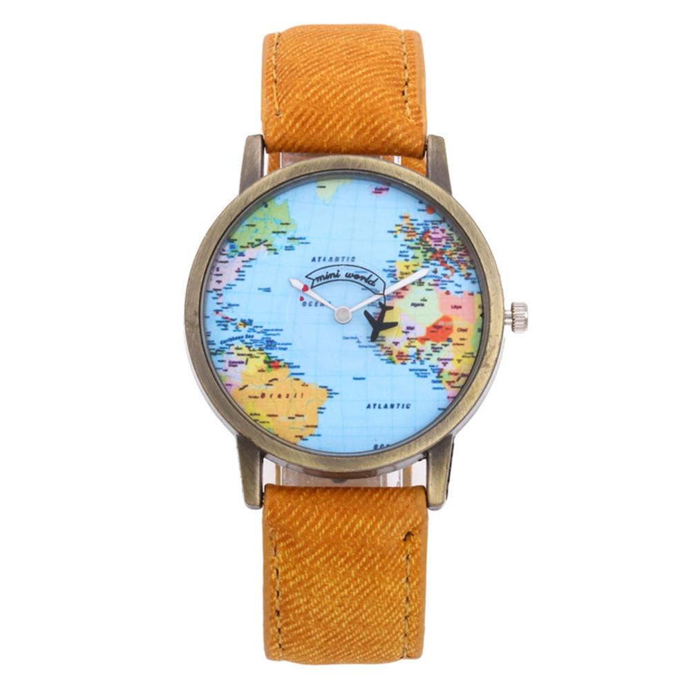 World Fashion Quartz Watch Men Unisex Map Airplane Travel Around The World Women Leather Dress Wrist Watches image
