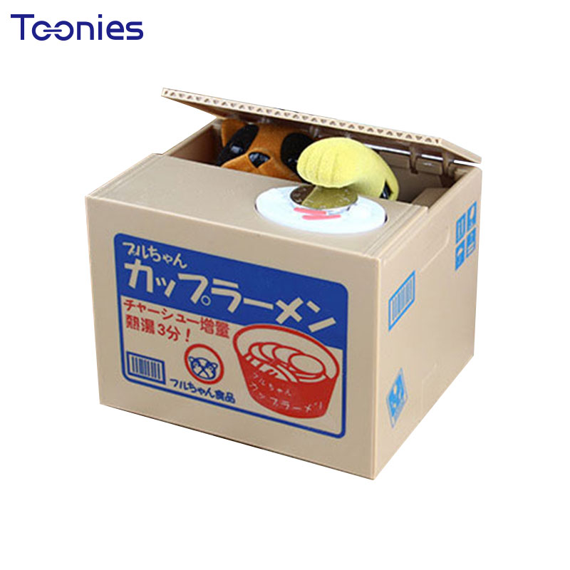 Christmas Gifts Kids Money Box Dog Cat Stealing Piggy Bank Funny Coins Saving Facebank Cofre
