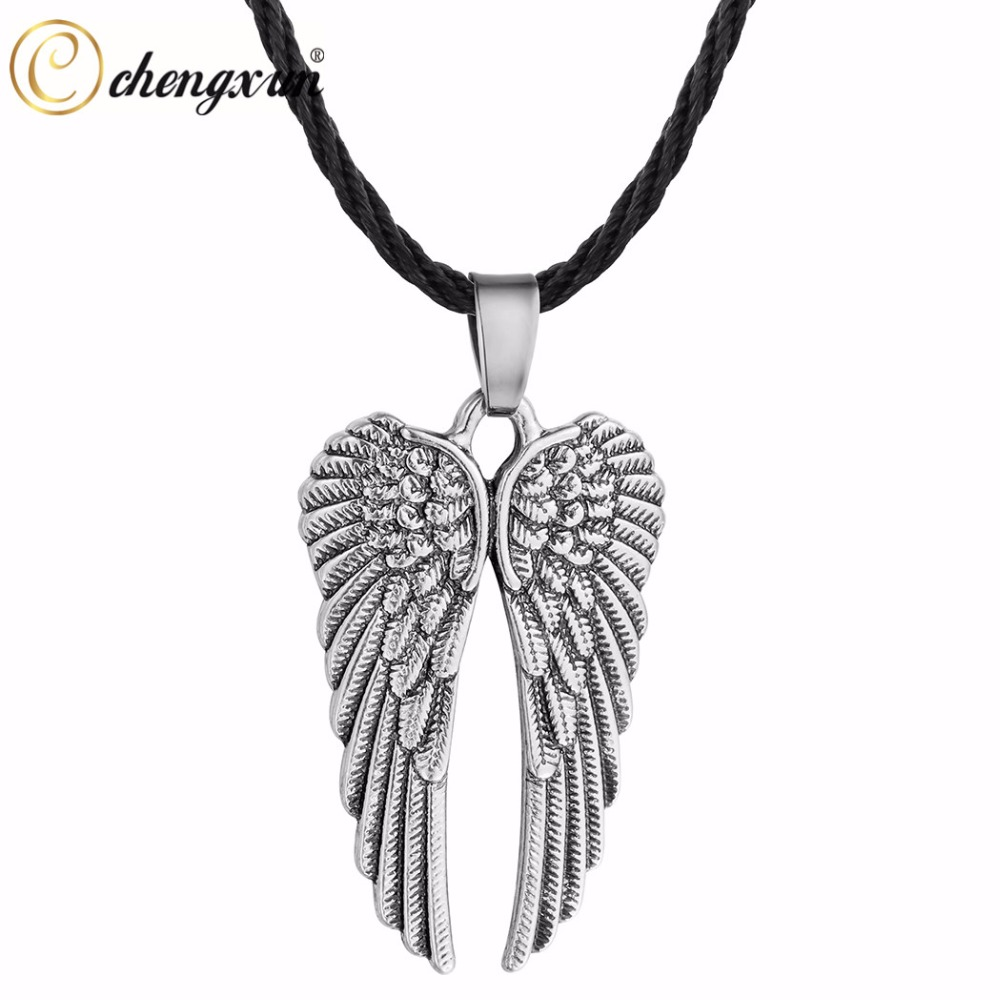 Layered Adjustable Black Leather  Necklace Double Tibetan Silver Angel Wings