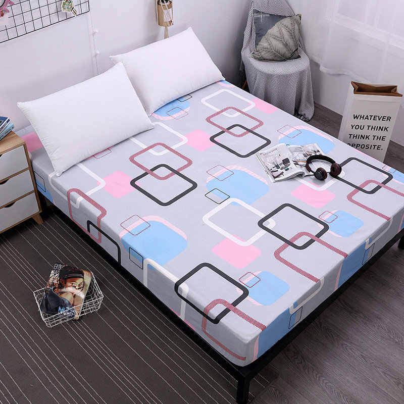 New Printing Fitted Sheet Mattress Cover Bed Linen With Elastic Band Mattress Protector Pad 100%Polyester King Size Bedding Set