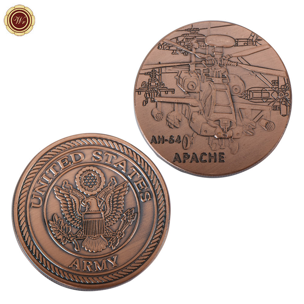 WR US Air Force Challenge Copper Coin AH-64 Apache Commemorative Brass Coin US Army Metal Coin for Collection ...