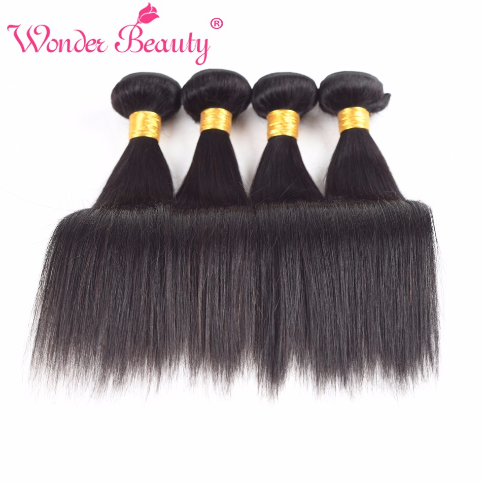 Wonder Beauty Brazilian non Remy Straight Hair Human Hair Weave With 4 Bundle Deal Length From