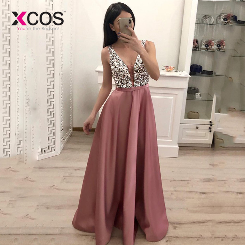 XCOS Beading Prom Dresses 2019 V neck Pink High Split Sleeveless Evening Gown A-line Lace Up Backless Vestido