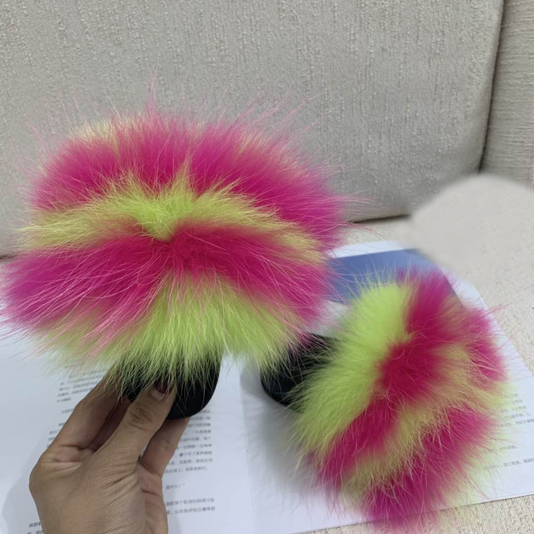 RASS PLE 2019 Baby Fur Slides Real Fox Fur Slides Slippers Furry Slippers Toddler Chaussons Enffor Kids Indoor House Slippers