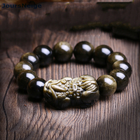 High Quality Genuine Black Gold Natural Obsidian Bracelets PiXiu Single Lap Lucky For Men Women Energy