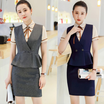 IZICFLY New Style Summer Lady Suit Skirt And Top Vest Waistcoat Office Uniform Formal Skirt Suits For Plus Size Women Work Wear formal work wear uniform styles professional spring summer business suit vest skirt ol blazers women skirt suits outfits sets