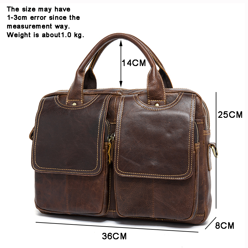 Business Men Briefcase Handbags Genuine Leather Men's Messenger Bag Shoulder Crossbody Bags Leather Travel Totes Laptop Bag Male