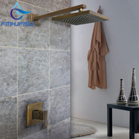 Free Shipping Wholesale And Retail Promotion Antique Brass 8 Rain Square Style Bathroom Shower Faucet Set