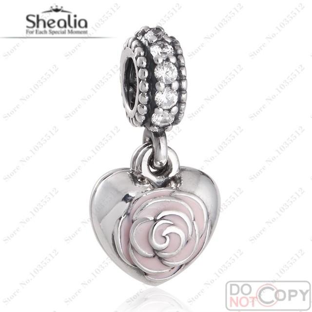 Europea apta pulseras de marca día de la madre Rose de los encantos Original 925 Pink flor del esmalte del corazón encanto de la joyería Diy