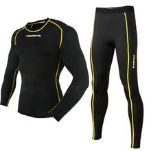 Nova PROSKINS de corrida dos homens calça + manga longa esporte Mens Athletic Suits Top ciclismo / fatos / roupas de ginástica definir / JingFu(China (Mainland))