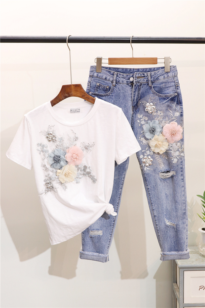 ALPHALMODA 3D Flower Applique Fashion Tshirt Slim Denim Pants Women Heavy-work Fine Quality Clothing for Summer Trendy Apparel