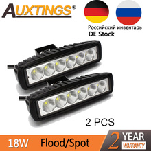 Auxting 2pcs 18W 12V LED Work Light Bar Spot light Flood Lamp Driving Fog Offroad LED Work Car Light for Jeep SUV 4WD led beams
