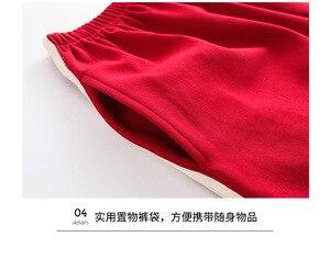 Image 5 - Moda Renk Bloğu Kadın Pamuk Pijama Seti Kore Gevşek 2019 Yaz Karikatür Elastik Bel Pijama Salonu pijama S93213