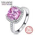 Perder Dinheiro Promoção! Fine Jewelry Sólidos Anéis de Prata para as mulheres De Luxo 3 Carat Rosa CZ Diamante Anel de Noivado Por Atacado BKJZ031