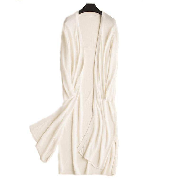2019 Boho Frauen Lange Strickjacken Dünne Material Lange Hülse Frauen Weiß Pullover Jumper Sommer Tops Lange Kimono