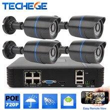 Techege $ number CANALES POE NVR 1080 P HDMI 4 UNIDS 1.0MP cámara IR Resistente A la Intemperie Al Aire Libre 720 P IP CCTV Cámara de Seguridad Kit de sistema de Vigilancia