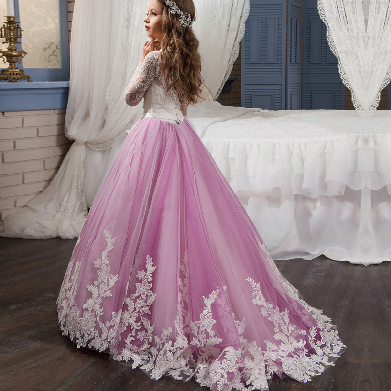 U-SWEAR 2019 New Arrival   Flower     Girl     Dress   Elegant Flora Embroidery Lace Floor-Length Kid Vestido Primera Comunion Wedding