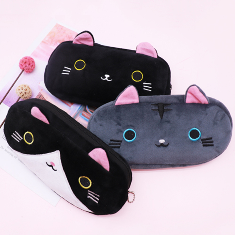 Plush Pencil Case Cat School Pencil Case For Girls Student Stationery Black Pencilcase Pen Bag Pencil Box School Supplies Tools