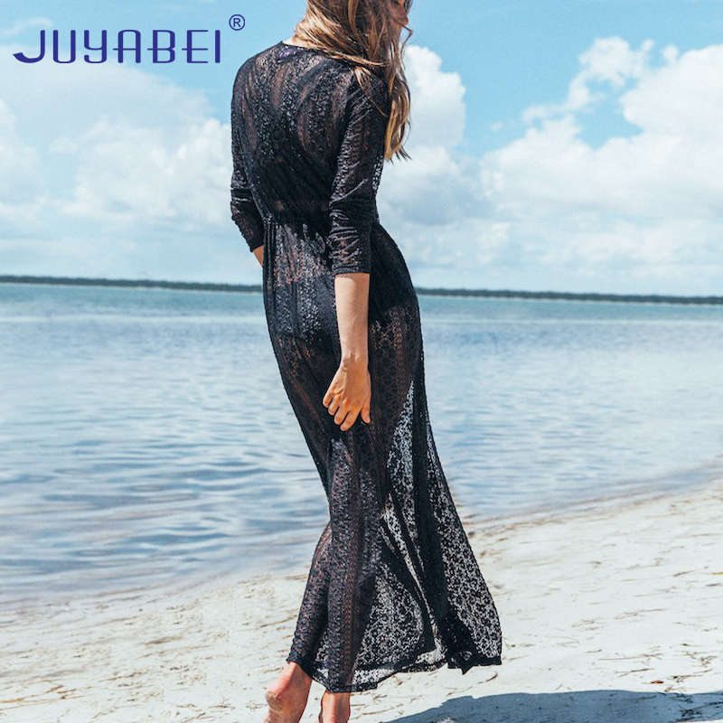 JUYABEI Beach Cover Up Solid Lace Robe Plage Black and White Kaftan Dress Pareos for Women Beach Tunic Sarong Swimsuit