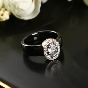 Image 4 - Egg Shape U Shaped Stud Earrings Big Carat Rings Jewelry Set Black White Ceramic Jewelry Set Wedding For Women Size 6 9